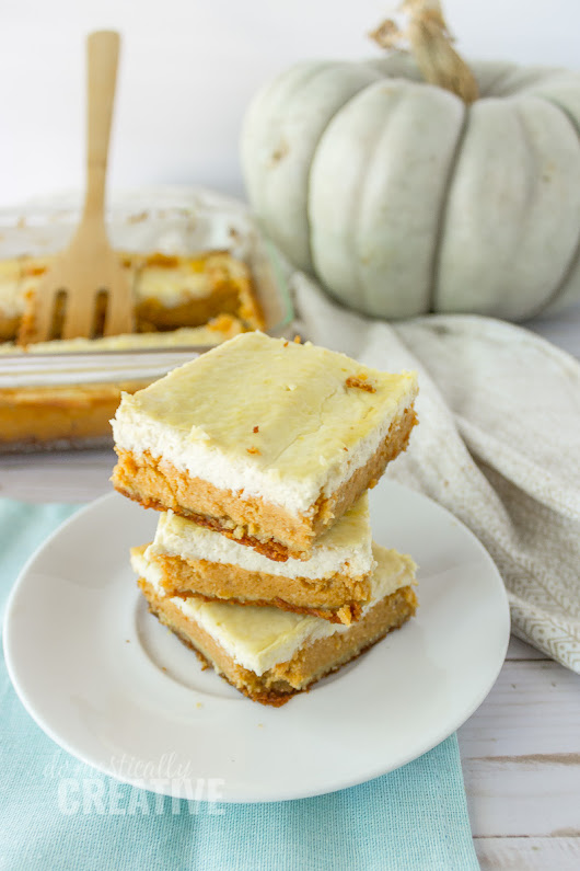 Low Carb Pumpkin Cheesecake Bars | Domestically Creative