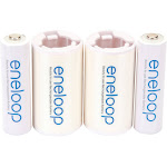 Panasonic 2 AA eneloop Rechargeable Batteries & 2 Spacers Kit, C Size