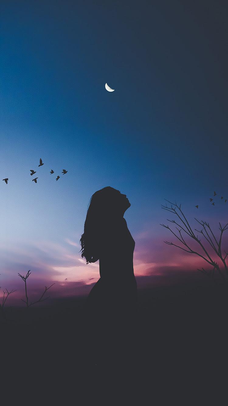 iPhone wallpaper nx24 night sky dark woman fly