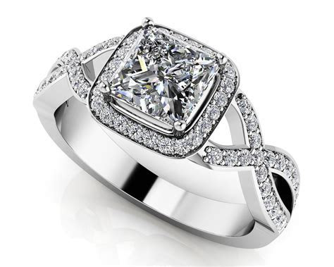 Woven Band Princess Diamond Engagement Ring   Roco's