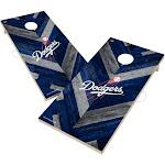 Los Angeles Dodgers Solid Wood 2x4 Cornhole Board Set Herringbone Design