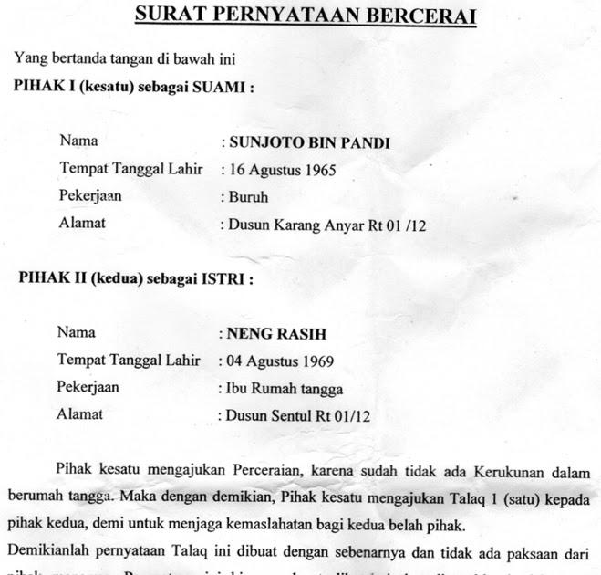 Contoh Surat Keterangan Cerai Dari Kelurahan - Contoh ...