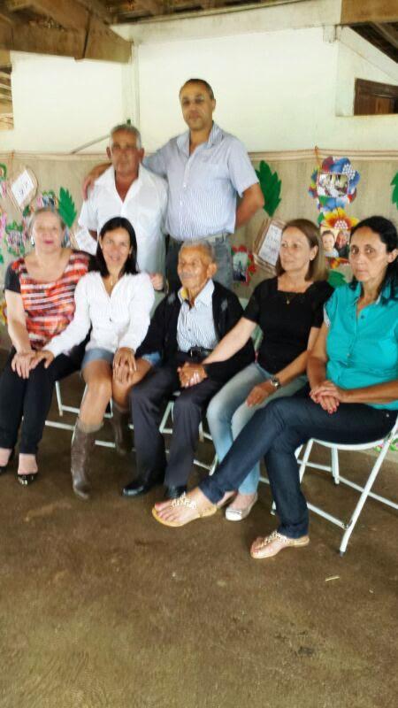 José Nicolau com seus genros e noras no dia 18.01.2014: Waldemar, Afonso, Rita, Gracinha, Cidinha e Marta