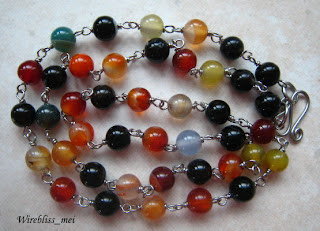 long wire wrap necklace with colorful agate