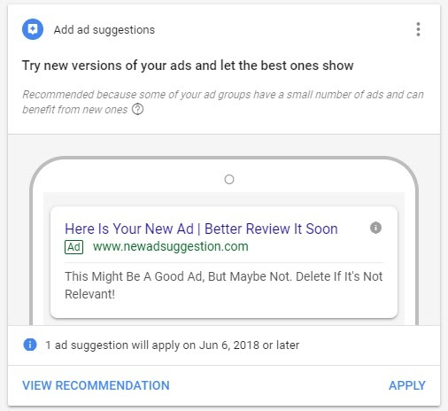AdWords Ad Suggestion Changes This Summer