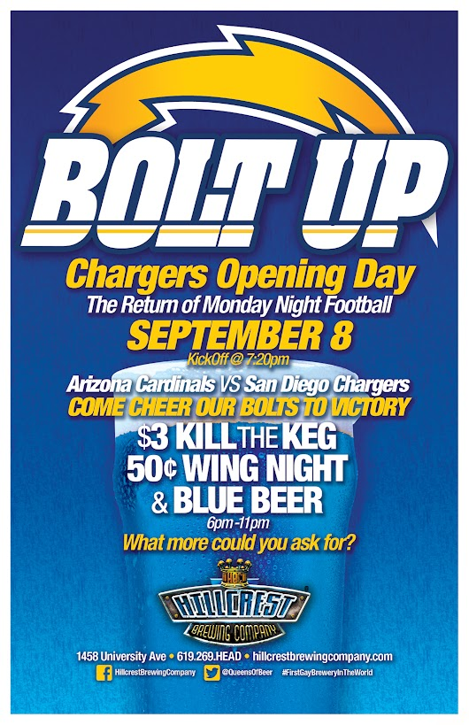 Watch the Chargers Game at Hillcrest Brewing Company