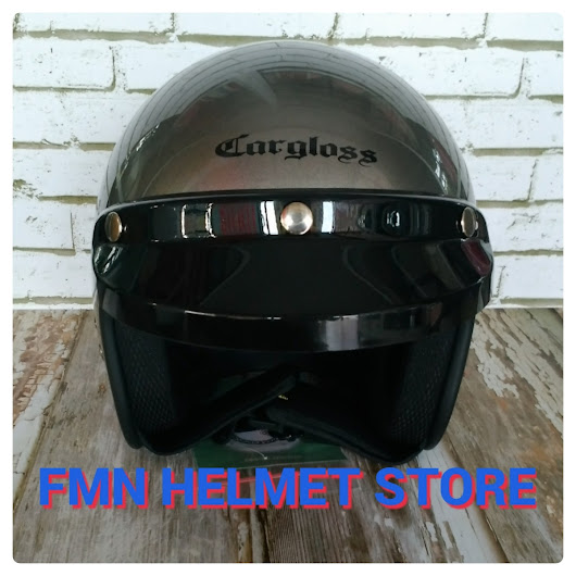 Helm Cargloss CF Retro Warna Brown dan Silver Metalik
