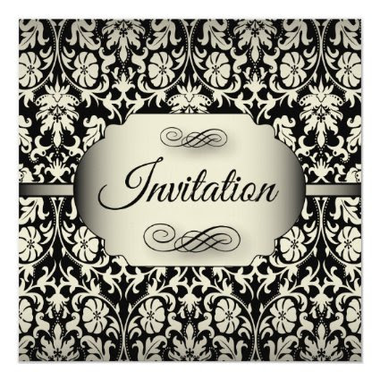 50th Birthday Party | Champagne & Black Damask 5.25x5.25 Square Paper Invitation Card