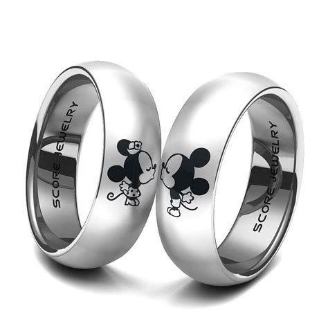 Couple Set Tungsten Band with Domed Edge Mickey & Minnie