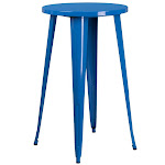 Bowery Hill Metal Patio Bistro Table in Blue
