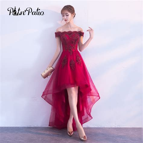 2018 Burgundy Lace High Low Prom Dress Boat Neck