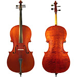 Dluca Student Ebony Fitted Cello with Padded Gig Bag, Bow, Rosin, 1/2 Half Size
