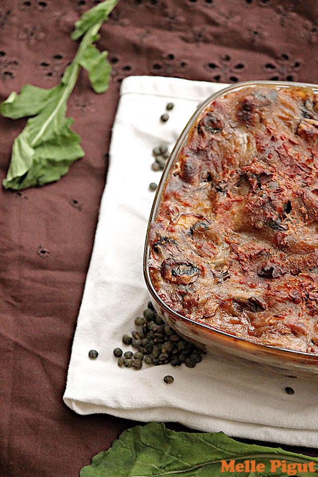 Lasagnes aux lentilles et sauce champignons