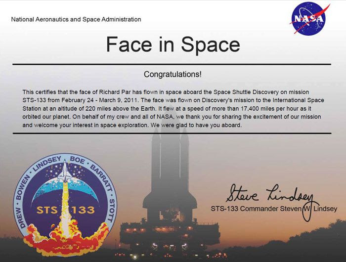 My participation certificate for space shuttle flight STS-133.