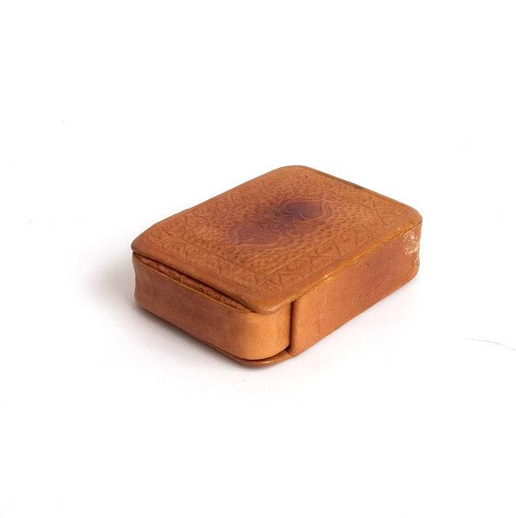 Vintage Soviet Brown Leather Card Case. Vintage Playing Cards Case. - MallinaVintage