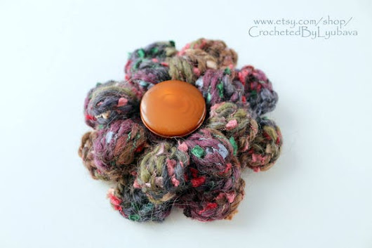 Multicolor Brown Crochet Brooch  Big Crochet 3d Flower
