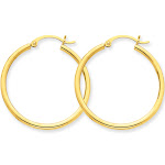 14K Yellow Gold Lightweight Tube Hoop Earrings