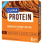 LUNA Protein Chocolate Peanut Butter Nutrition Bars - 6ct