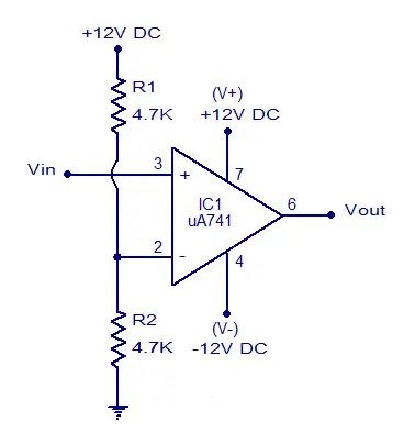 741 voltage comparator