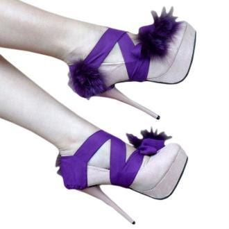Bej Renk Mor Kurdele ve Tüylü Platform Topuklu Ayakkabı Modelleri