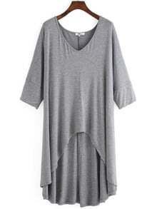 Grey V Neck Dip Hem Plus T-shirt