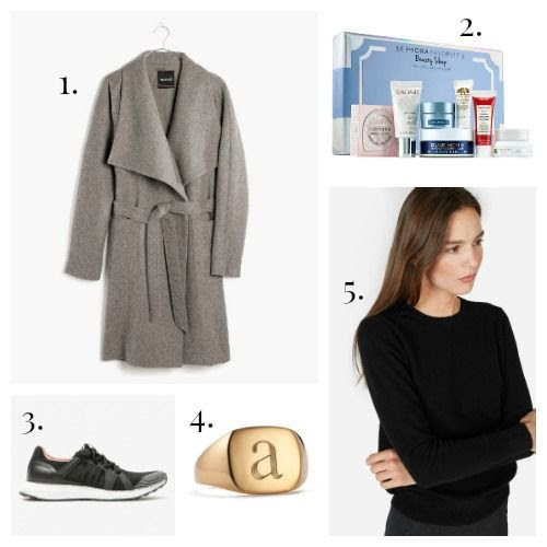 Madewell Coat - Sephora Favorites Skincare - Adidas by Stella McCartney Sneakers - Sarah Chloe x GOOP Ring - Everlane Sweater