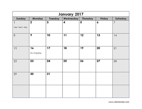 2017 Monthly Calendar - Free Printable Templates