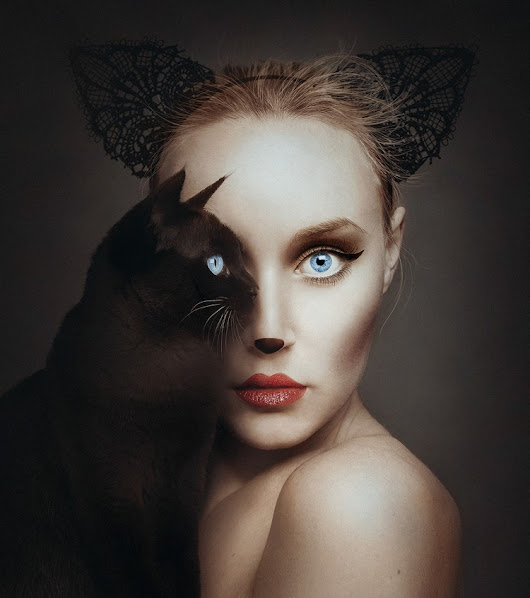 Photographer Uses the Eyes of the Animals She's Posing With as Her Own in a Playful Portrait Series