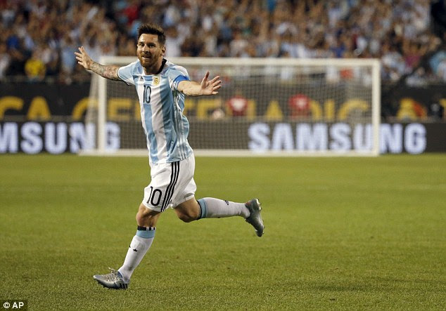 Lionel Messi celebrates after scoring in Argentina's 5-0 Copa America win against Panama on Friday