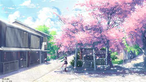 anime hatsune miku vocaloid cherry blossom wallpapers