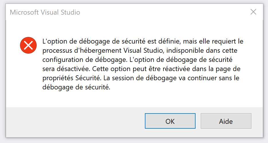 VS 2017 : The security debugging option is set but it requires the