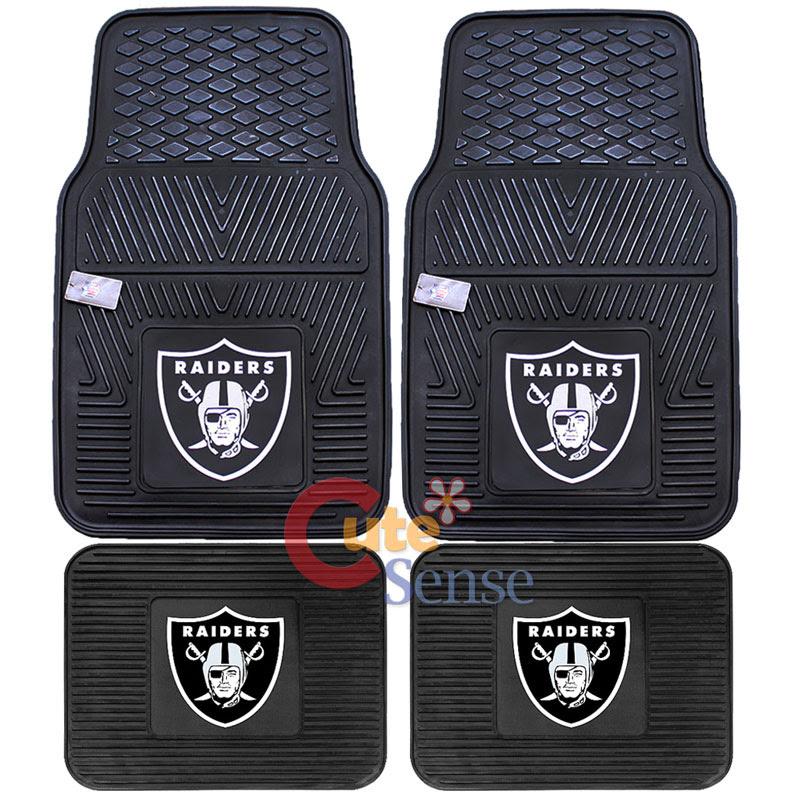 Oakland Raiders Front Floor Mat Rare Utility Mat 4pc Rubber NFL Fanmats Auto  eBay