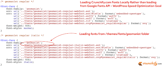How to Load WordPress Fonts locally rather making call to Google's fonts.gstatic.com API or TypeKit API? • Crunchify