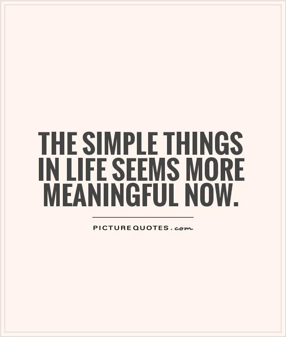 The Simple Things In Life Seems More Meaningful Now Picture Quotes