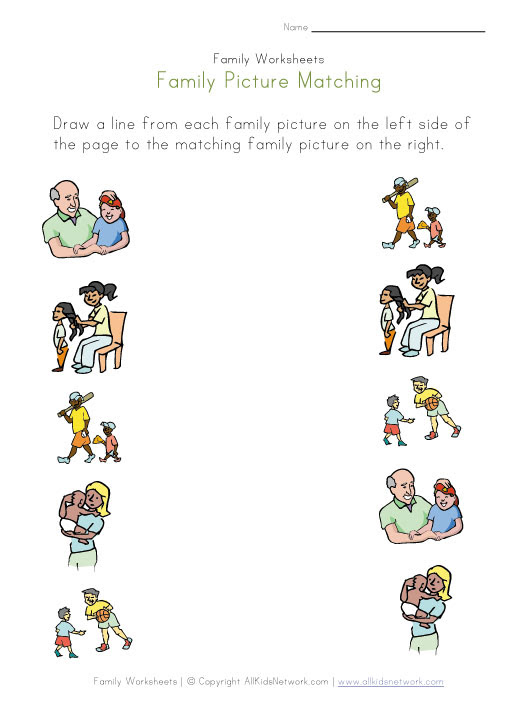 Family Matching worksheets Worksheet Picture types family View Your Print and