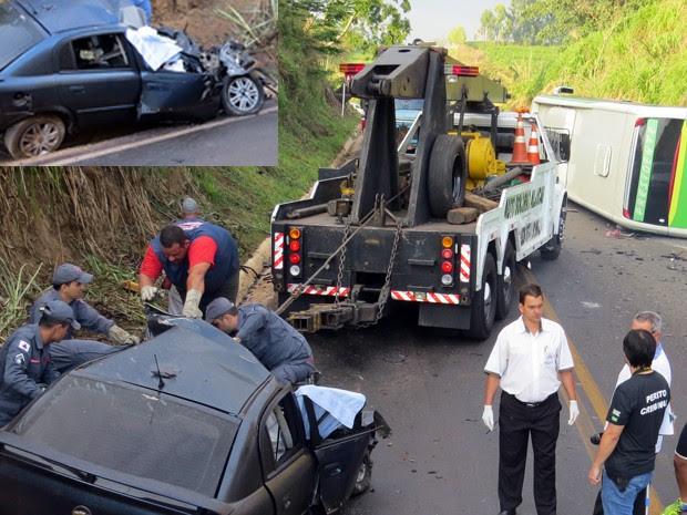 Acidente entre carro e ônibus matou motorista na MG-444, em Capetinga, MG (Foto: Helder Almeida)