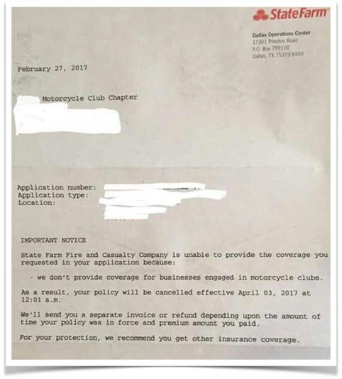 Letter from State Farm mentioning they do not provide coverage for business engaged in Motorcycle Clubs