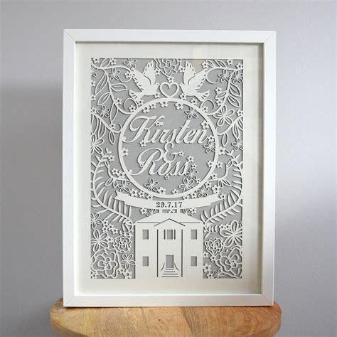 paper cut wedding gift custom laser cut framed print by
