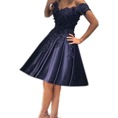 Navy Blue Bridesmaid Dresses Short Formal Dresses Lace Off