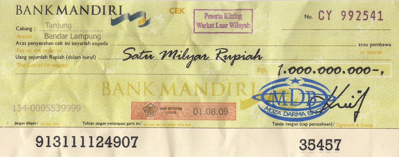 Contoh Cek Bank Mandiri 3 Glorios As Palavras