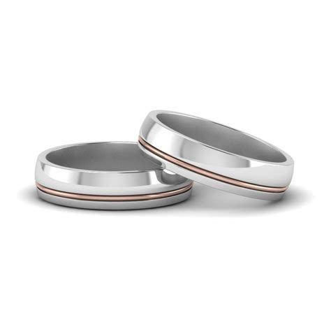 Classic 2 Tone Gay Wedding Bands In 14K Rose Gold