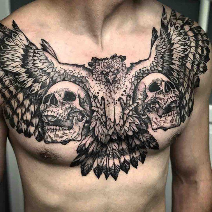 Two Skulls And Bird Chest Tattoo Best Tattoo Ideas Gallery