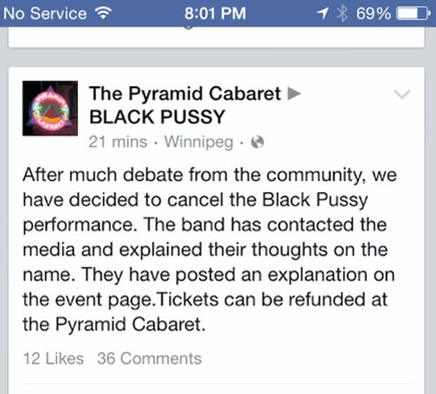 Pyramid Caberet cancels Black Pussy