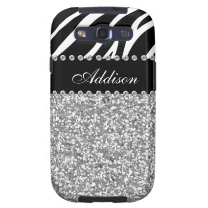 Black Glitter Zebra Print Rhinestone Girly Case Galaxy S3 Case