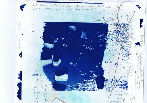 Cyanotype, blueprint  with notes/formulae/string on paper by Russell Moreton