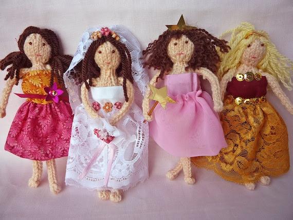LITTLE LADIES mini doll Knitting Pattern with fabric dress patterns