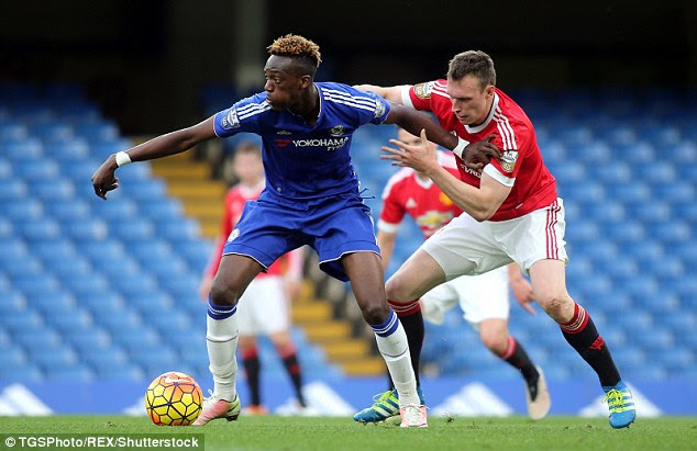 United defender Phil Jones challenges Chelsea's Tammy Abraham during Friday's encounter