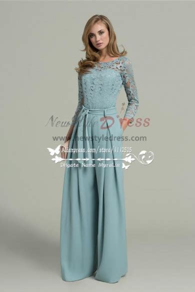 womens chiffon prom jumpsuit  lace long sleeves nmo