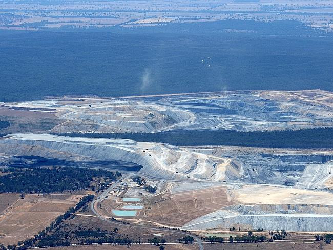 What an open-cut mine looks like from the air: The Boggabri Coal and Whitehaven mines on