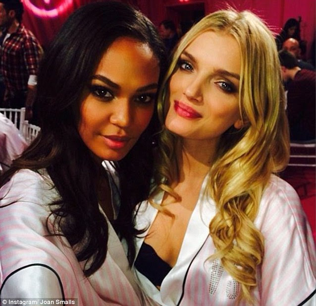 English rose: Lily Donaldson posed with Joan Smalls backstage as they prepared for their big night